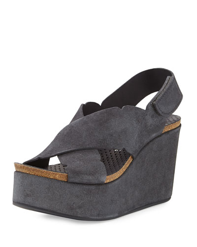 Dafne Suede Wedge Sandal, Coal