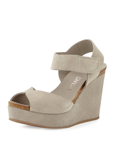 Maby Suede Wedge Sandal, Pumice