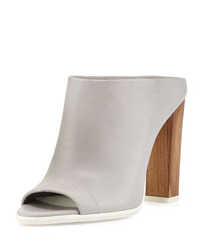 Allison Peep-Toe Mule Slide, Steel