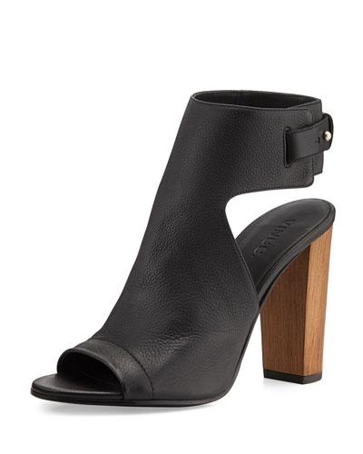 Addie Leather Peep-Toe Bootie, Black