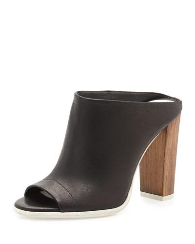 Allison Leather Mule Slide, Black