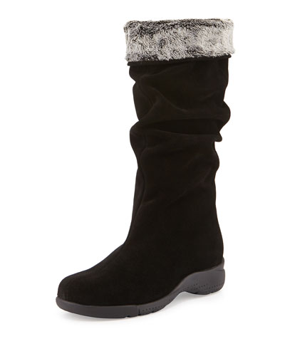 Trevis Slouchy Suede Boot, Black