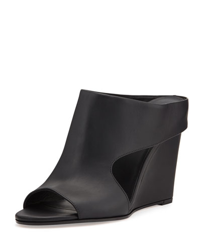 Kaya Leather Wedge Mule Slide, Black