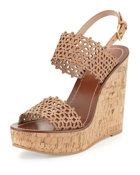 e8813661326c4 Tory Burch Daisy Perforated Wedge Sandal