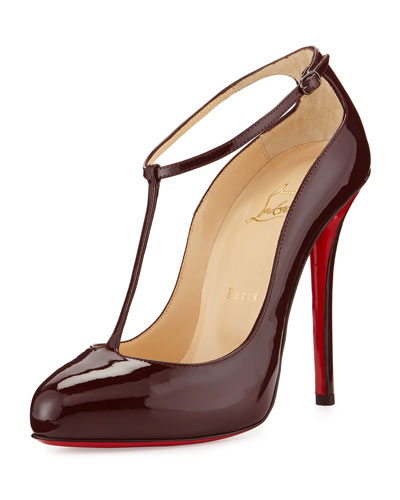 Ditassima Patent T-Strap Red Sole Pump, Burgundy