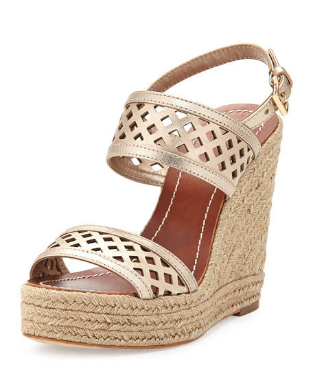 ff044def399bc Tory Burch Lattice Perforated Wedge Sandal