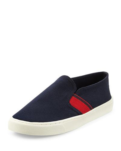 Canvas Stripe Slip-On Sneaker, Tory Navy