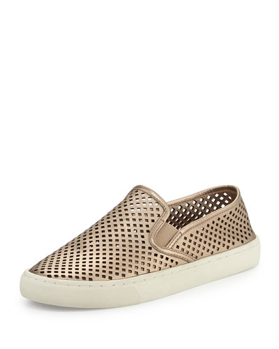 Jesse Perforated Slip-On Sneaker, Platinum