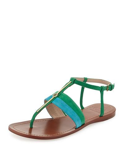 Suede Logo Bar Thong Sandal, Bermuda Teal/Emerald