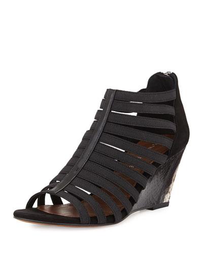 Pelle Strappy Wedge Sandal, Black