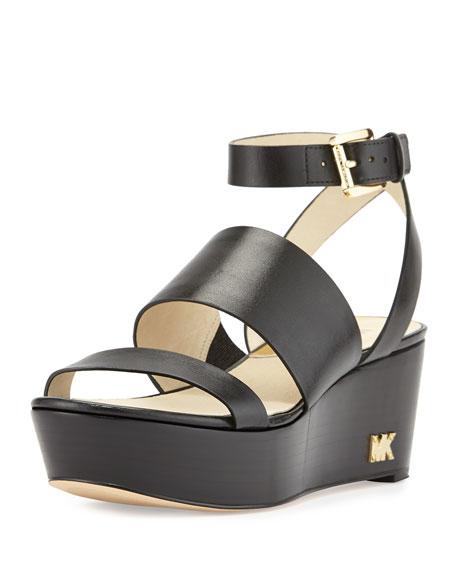c6e4ec204d44 MICHAEL Michael Kors Poesy Leather Platform Wedge Sandal