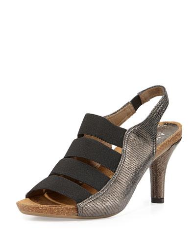 Brigitte Stretch-Strap Cork Sandal, Pewter