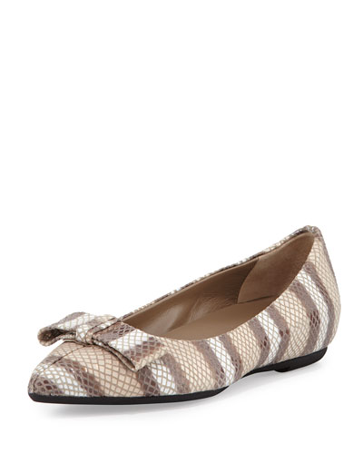 Delia Bow Point-Toe Ballet Flat, Sand