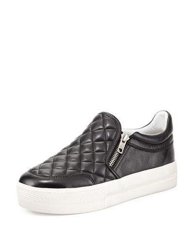 Jodie Quilted Zip Skate Shoe, Black