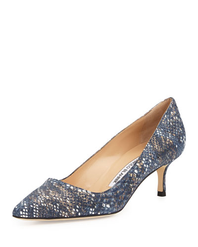 BB Fabric 50mm Pump, Navy Snake (Made to Order)