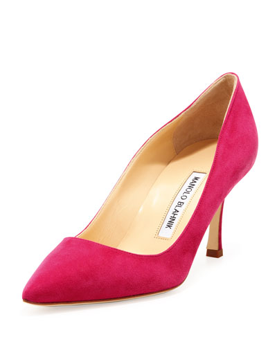 BB Suede 70mm Pump, Fuchsia (Made to Order)