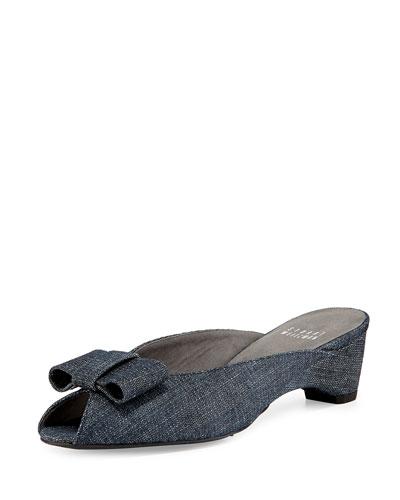 Candy Peep-Toe Denim Bow Slide Sandal, Navy