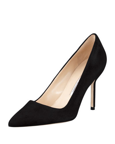 BB Suede 90mm Pump, Black (Made to Order)