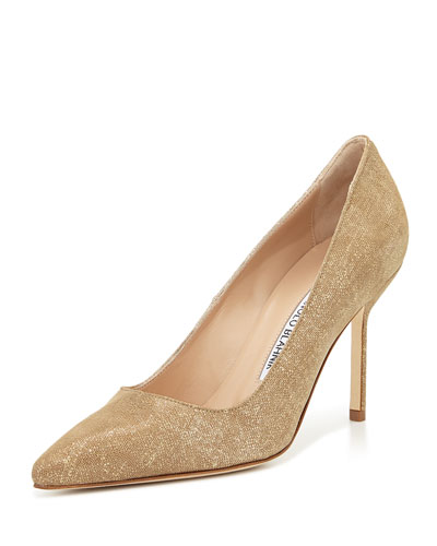 BB Suede 90mm Pump, Natural Gold (Made to Order)