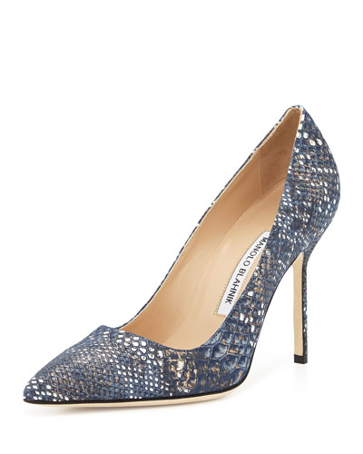 BB Fabric 105mm Pump, Navy Snake (Made to Order)