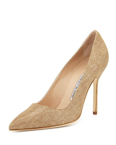 BB Suede 105mm Pump, Natural Gold (Made to Order)