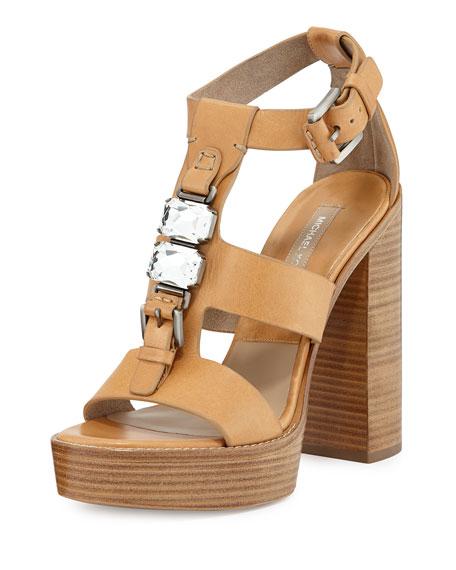 Mens Sandals Michael Kors Jaden Runway Platform Sandals Peanut Sandals PEANUT Big Sale