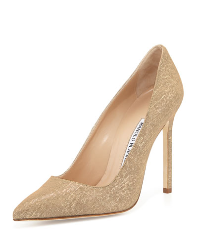 BB Suede 115mm Pump, Natural Gold (Made to Order)