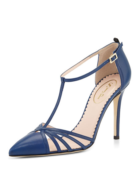 Sjp Carrie T-Strap Leather Pumps GQLCx
