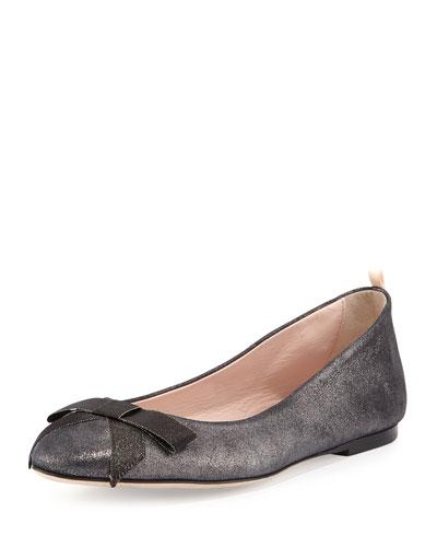 Audrey Suede Ballerina Flat, Anthracite