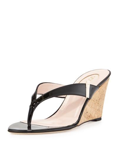 Raquel Thong Wedge Patent Sandal, Black