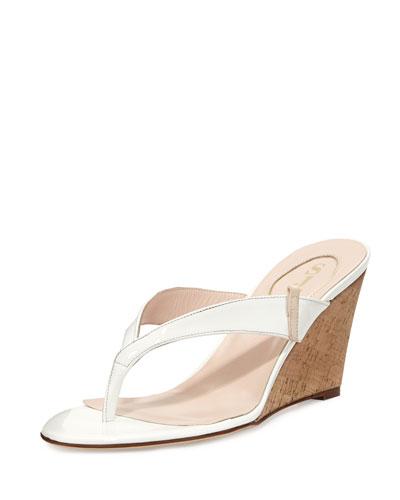 Raquel Patent Wedge Sandal, White