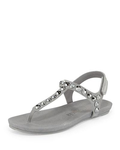 X2lqe Pedro Garcia Judith Crystal Studded Flat Thong Sandal