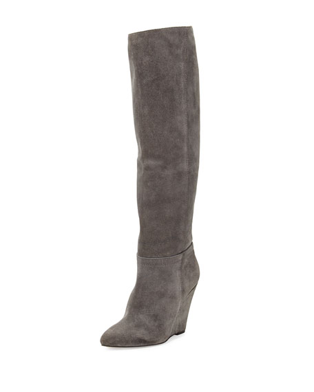 browse cheap online sale with paypal Pour La Victoire Suede Knee-High Wedge Boots view cheap price buy cheap clearance store buy cheap best skbbACJ