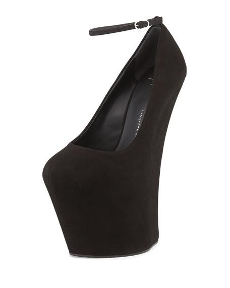 56e5b1457231f Giuseppe Zanotti Suede Heel-Less Wedge Pump, Black