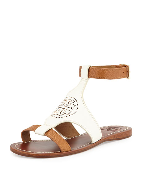8ca2fe68e Tory Burch Perforated Logo Leather Sandal