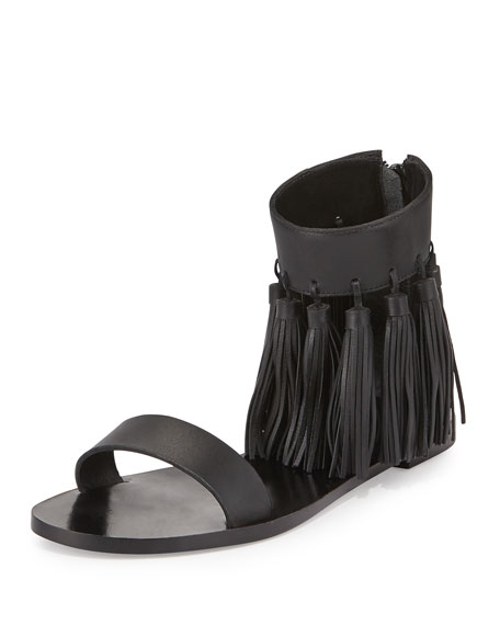 Loeffler Randall Leather Tassel Sandals best deals iCO73gT