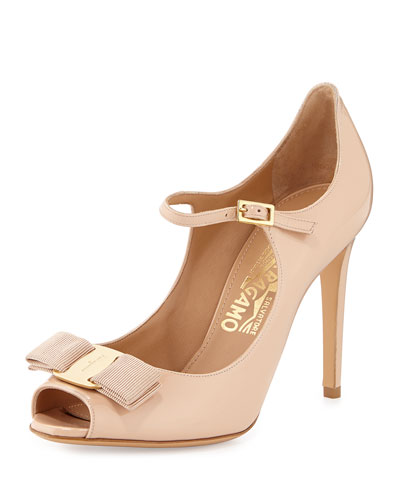 Mood Patent Peep-Toe Pump, New Bisque