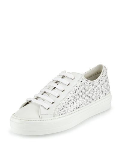 Melina Lace-Up Cutout Low-Top Sneaker, New Bianco