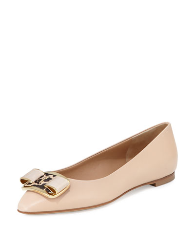 Lola Bow Detail Flat, New Bisque