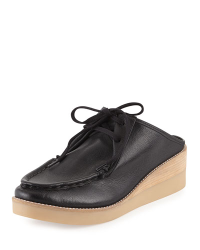 Essex Washed Leather Mule, Black