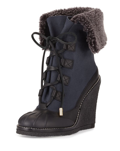 Fairfax Fur-Lined Wedge Boot, Black/Washed Navy