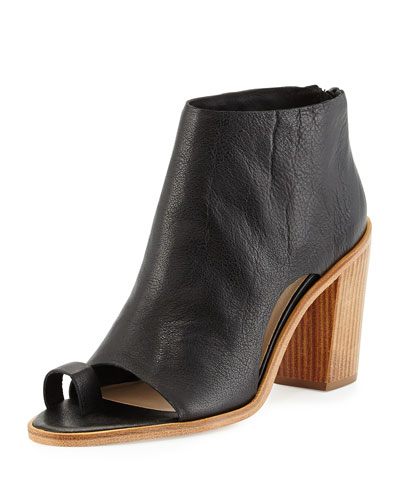Gigi Leather Toe-Ring Bootie, Black
