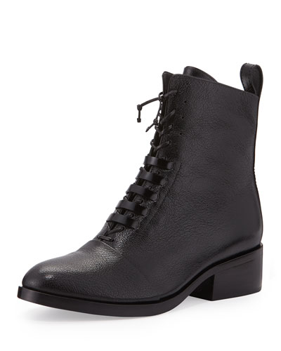 Alexa Pebbled Leather Lace-Up Ankle Boot