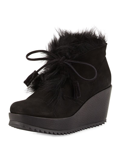Fidela Fur-Lined Wedge Boot, Black