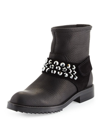 Kian Crystal Moto Boot, Black