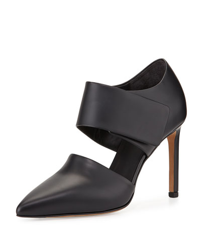 Capri Leather Point-Toe Pump, Black
