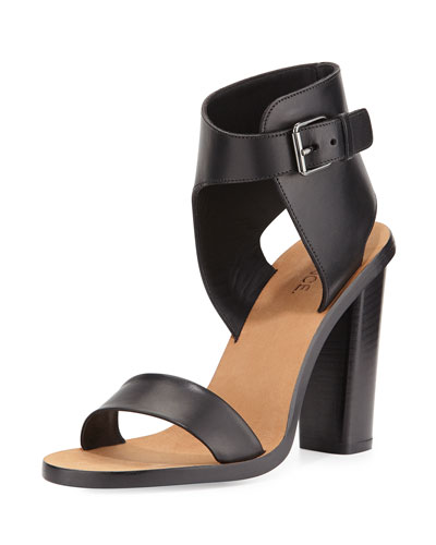 Nicole Leather Ankle-Cuff Sandal, Black