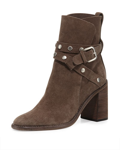 Janis Belted Suede Boot, Tundra Gray