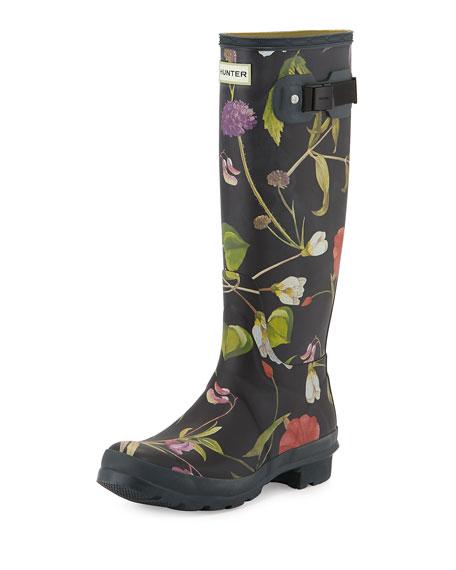 566db3bf91e Floral-Print Tall Rain Boot Black