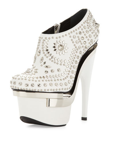 Studded Leather Platform Bootie, White/Silver